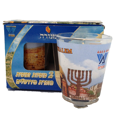 CANDLE GLASS X2 JERUSALEM
